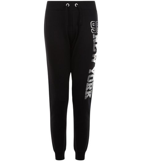 Teens Black 98 NYC Foil Print Joggers | New Look