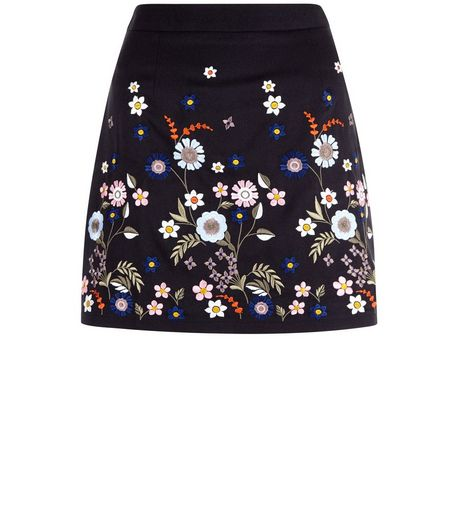 Teens Black Floral Embroidered Skirt  | New Look
