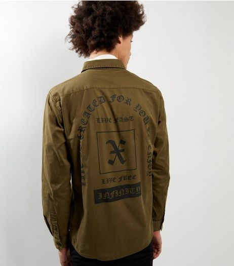 Dark Brown Long Sleeve Slogan Back Print Shirt | New Look