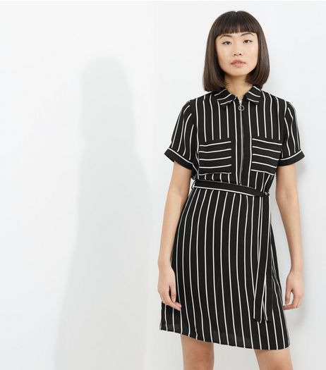 Black Stripe Double Pocket Zip Front Shirt Dress | New Look