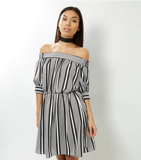 Black Stripe Bardot Neck Dress  | New Look