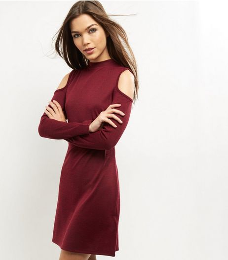 Burgundy Cold Shoulder Swing Dress | New Look