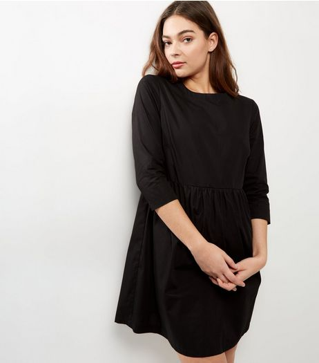 Black Cotton Smock Dress | New Look