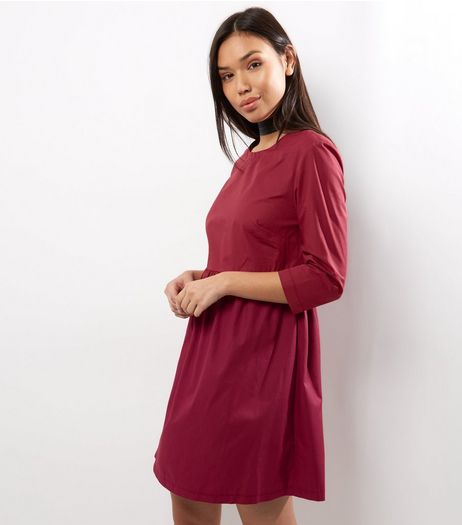 Burgundy Cotton Smock Dress | New Look
