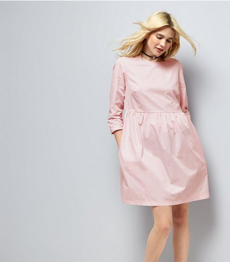 Mid Pink Cotton Smock Dress | New Look