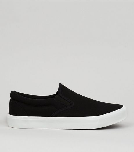 Black Canvas Slip On Trainers | New Look