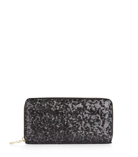Black Sequin Zip Around Purse | New Look