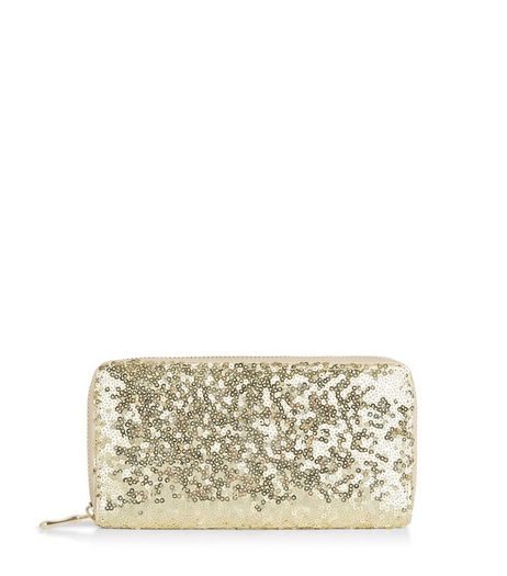 Gold Sequin Zip Around Purse | New Look