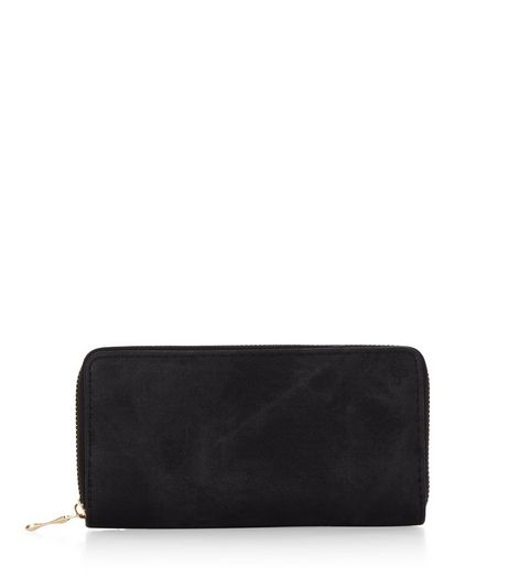 Black Denim Zip Around Purse | New Look