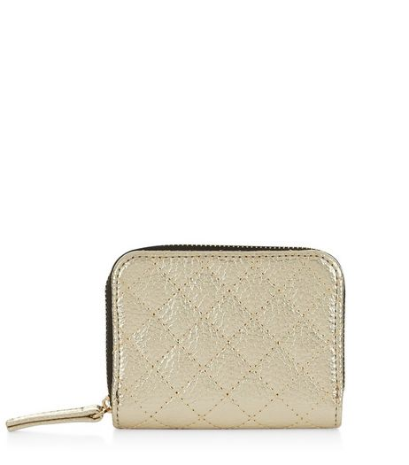Gold Quilted Metallic Cardholder  | New Look