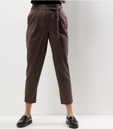 Burgundy Tie Waist Cropped Trousers  | New Look