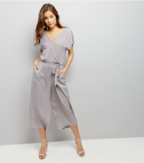 Grey Wrap Front Culotte Jumpsuit | New Look