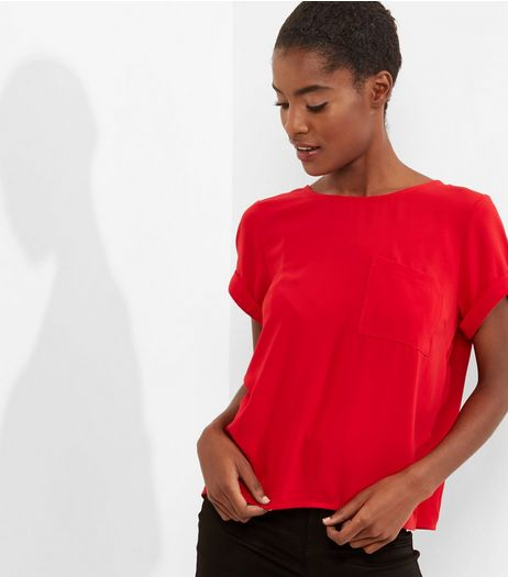 Dark Red Roll Sleeve Pocket Front T-Shirt  | New Look