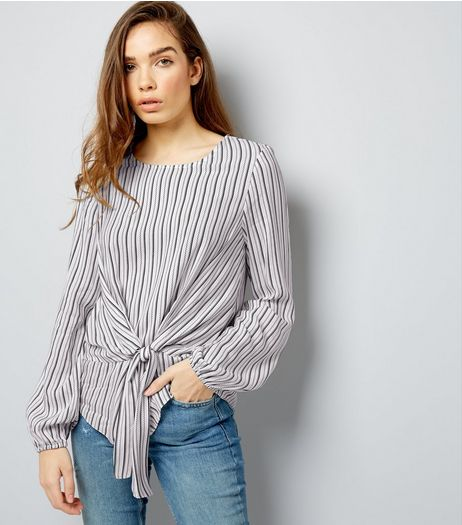 Black Stripe Tie Front Long Sleeve Top  | New Look