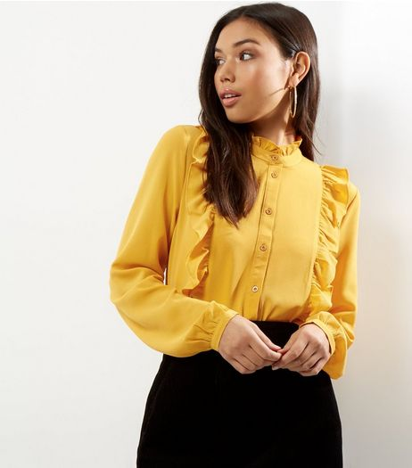 Yellow Yoke Frill Trim Long Sleeve Shirt  | New Look