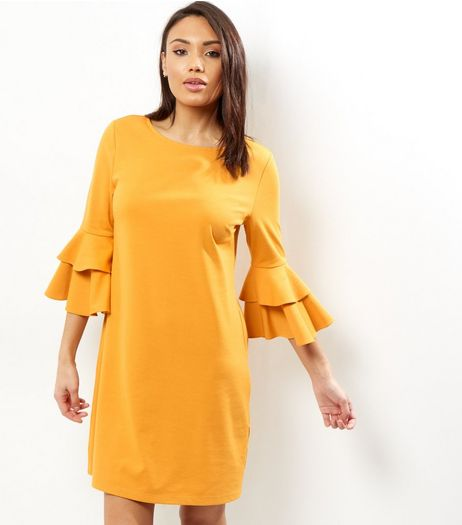 Yellow Layered Bell Sleeve Tunic Dress | New Look