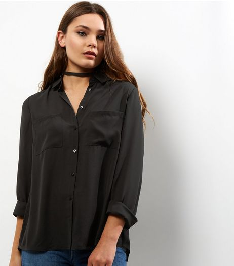 Black Split Back Double Pocket Front Shirt | New Look
