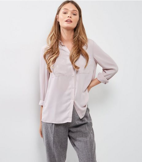 Lilac Split Back Double Pocket Front Shirt  | New Look