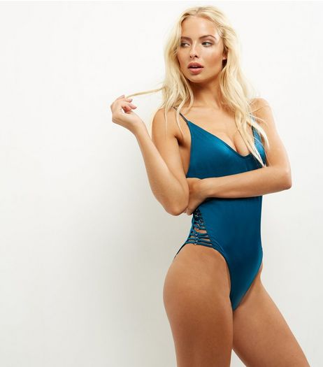 Blue Lattice Side Plunge Swimsuit | New Look