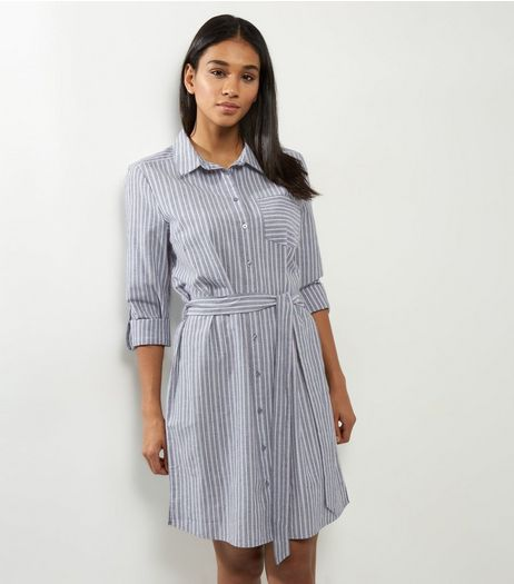 Grey Stripe Pocket Front Belted Shirt Dress | New Look