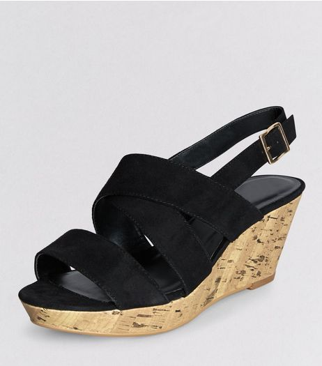 Teens Black Suedette Cork Heeled Wedges | New Look