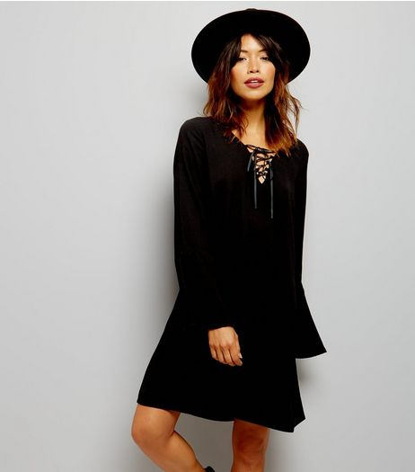 Black Lattice Front Bell Sleeve Tunic | New Look