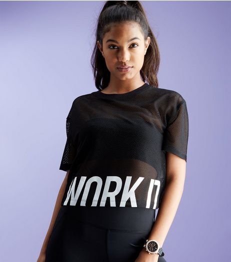 Black Mesh Work It Print Sports Crop Top  | New Look