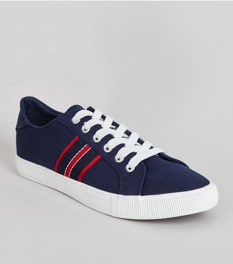Navy Contrast Stripe Lace Up Trainers | New Look