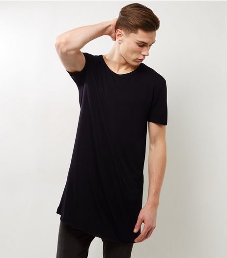 Black Extreme Longline T-Shirt | New Look