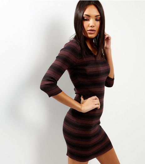 Apricot Dark Red Stripe Print Ribbed Dress | New Look