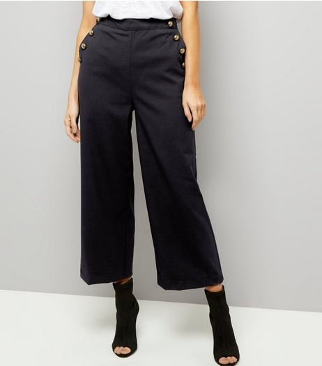 Tall Navy Button Side Wide Leg Trousers | New Look