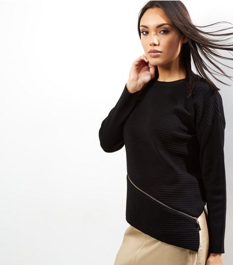 Apricot Black Zip Asymetric Hem Jumper  | New Look