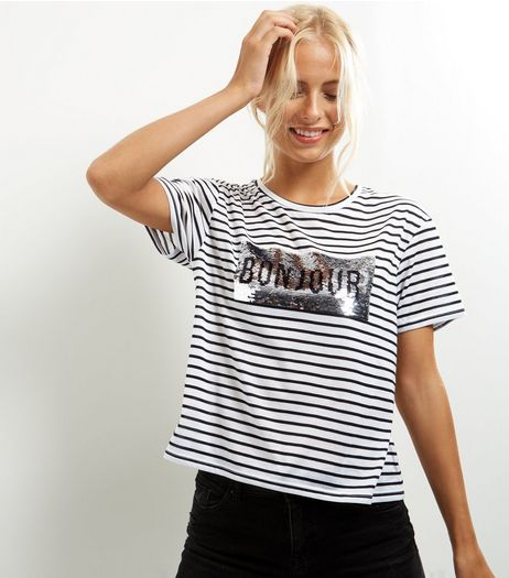 White Stripe Sequin Bonjour Print T-Shirt  | New Look