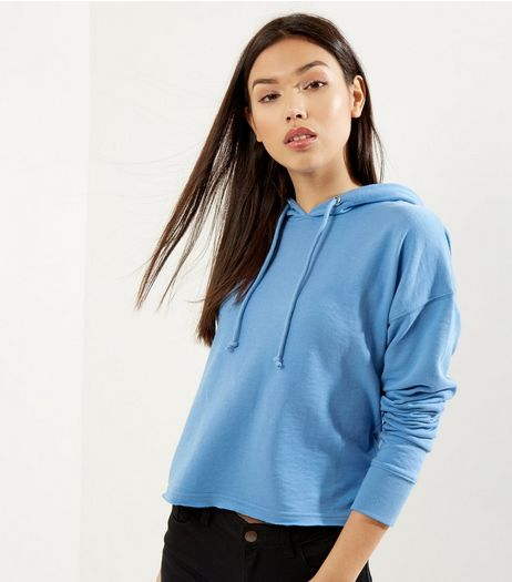 Blue Cropped Hoodie | New Look