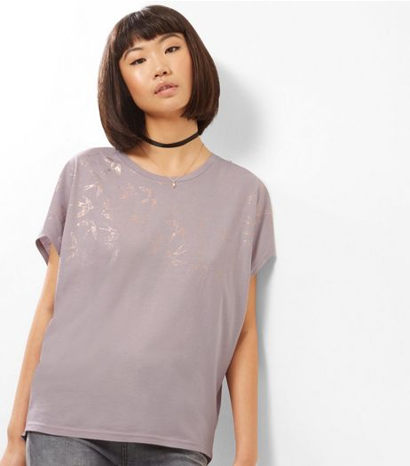 Lilac Foil Swallow Print Cocoon T-Shirt   | New Look