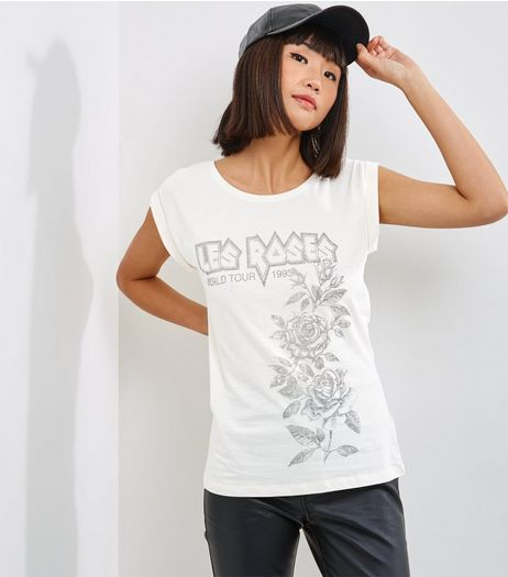 Cream Les Roses Print T-Shirt  | New Look