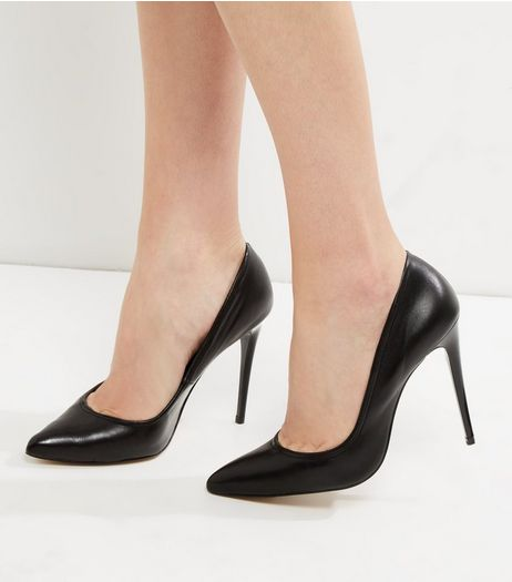 Black Leather Elasticated Pointed Heels | New Look