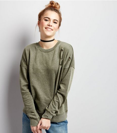 Olive Green Ripped Long Sleeve Sweater | New Look