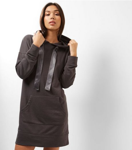 Dark Grey Satin Tie Neck Hooded Jumper Dress | New Look