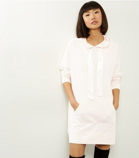 Cream Ribbon Tie Hooded Dress | New Look