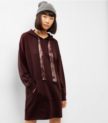 Burgundy Satin Tie Neck Hooded Jumper Dress | New Look