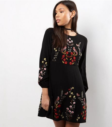Petite Black Embroidered Long Sleeve Skater Dress | New Look