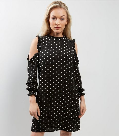Petite Black Spot Print Cold Shoulder Tunic Dress | New Look