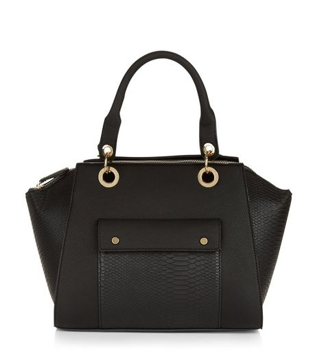 Black Snakeskin Texture Panel Bowler Bag | New Look