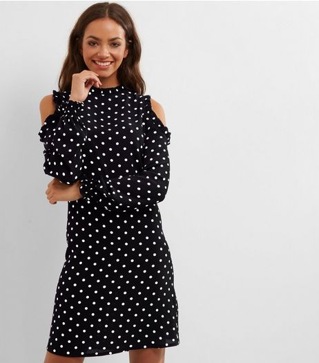 Tall Black Frill Trim Spot Print Cold Shoulder Dress | New Look