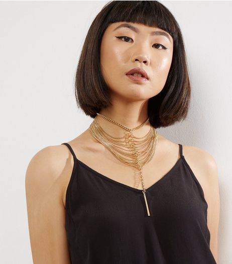 Gold Layered Chain Choker | New Look