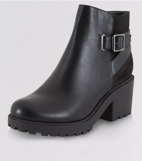 Teens Black Chunky Buckle Strap Boots | New Look