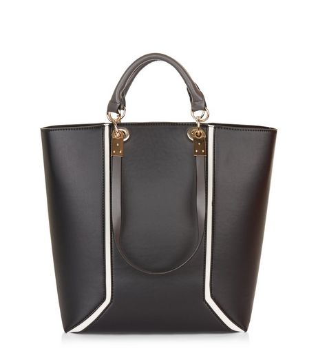 Black Contrast Trim Tote Bag | New Look