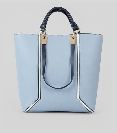 Blue Contrast Trim Tote Bag | New Look