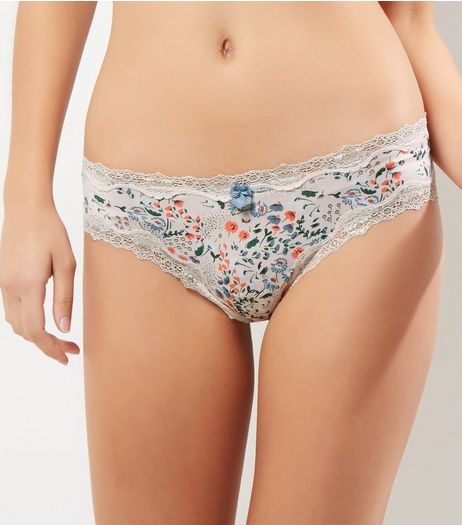 Pink Floral Lace Trim Brazilian Briefs | New Look